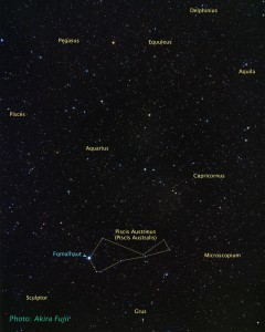 Ground-based image with location of Fomalhaut. (Credit: A. Fujii, NASA, ESA, and Z. Levay (STScI))