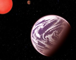 KOI-314c, shown in this artist's conception, is the lightest planet to have both its mass and physical size measured. Surprisingly, although the planet weighs the same as Earth, it is 60 percent larger in diameter, meaning that it must have a very thick, gaseous atmosphere. It orbits a dim, red dwarf star (shown at left) about 200 light-years from Earth. KOI-314c interacts gravitationally with another planet, KOI-314b (shown in the background), causing transit timing variations that allow astronomers to measure the masses of both worlds. This serendipitous discovery resulted from analysis as part of the Hunt for Exomoons with Kepler (HEK) project. (Credit: C. Pulliam & D. Aguilar (CfA))