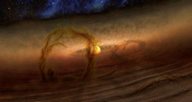 Magnetic loops carry gas and dust above disks of planet-forming