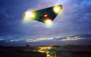 UFO Triangle Lights over Ocean