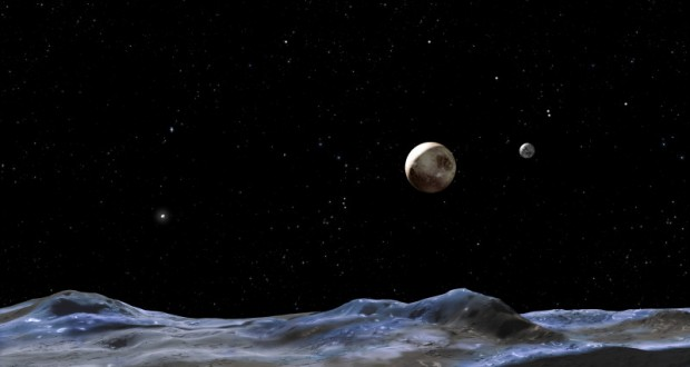 This artist concept shows Pluto and some of its moons, as viewed from the surface of one of the moons.