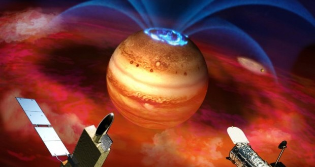 In this artist's rendering, flows of electrically charged ions and electrons accelerate along Jupiter's magnetic field