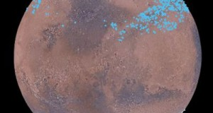 Mars distinct polar ice caps, but Mars also has belts of glaciers at its central latitudes -- between the blue lines, in both the southern and northern hemispheres
