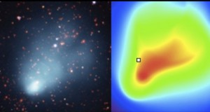 An image comparing the data showing the many galaxies and the X-ray emission from the hot gas