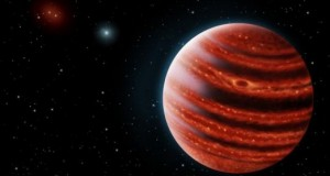 An artist's conception of the Jupiter-like exoplanet, 51 Eri b. Because of its young age, this young cousin of our own Jupiter is still hot and carries information on the way it was formed. Photo: SETI Institute