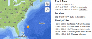 East Coast Earthquake 10-8-2013