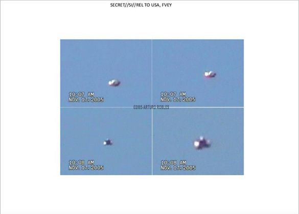 Snowden GCHQ UFO slide 36. Still images of UFO video from Mexico.
