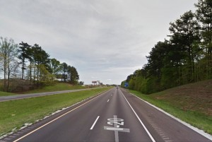 The witness was near this location traveling eastbound along Alabama's I-20 nearing the 205 exit when she first saw the triangle-shaped object hovering at the tree top level on January 20, 2014. (Credit: Google Maps)