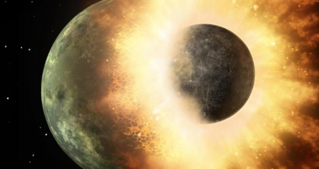 This artist's rendering shows the collision of two planetary bodies.