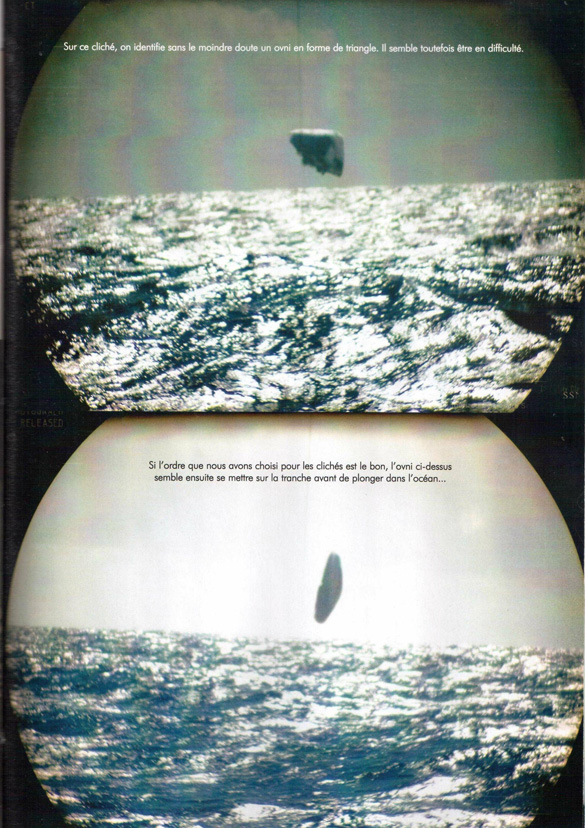 "Two of the images from the French magazine Top Secret. The caption reads, ""(Top) On this photo, we identify without a doubt a triangular-shaped UFO. It seems to be in trouble. (Bottom) If the order that we have chosen for these pictures is correct, the UFO here seems to now go sideways before plunging into the ocean…"" (Credit: Top Secret/TheBlackVault.com)"