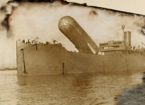 A view of the H.M.S Canning and its observation balloon. – Image discovered by TheBlackVault.com. (Credit: National Geographic.)