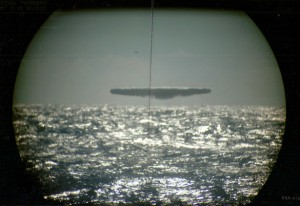 Alleged UFO photo taken from the USS Trepang in March 1971.