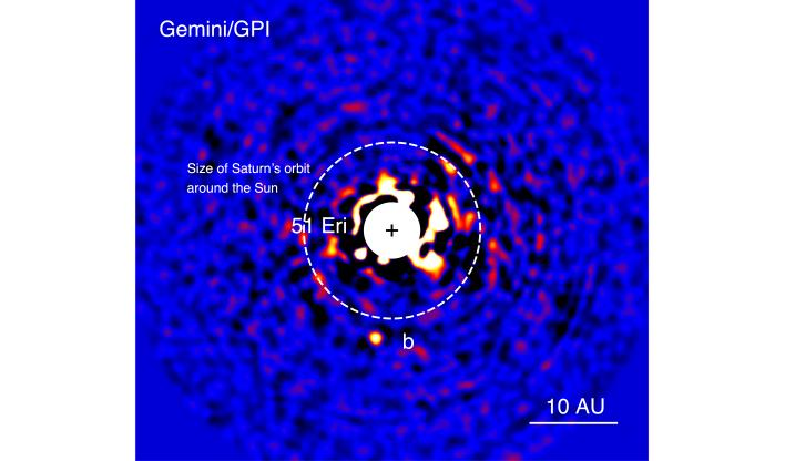 The image taken by the Gemini Planet Imager. The light of star 51 Eri has been dialled back to allow the detection of light from the exoplanet one million times fainter.