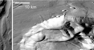 Detail of a flood channel in Ares Valles