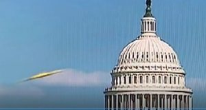 Object flew in front of the capital building Washington DC on August 14, 2017.