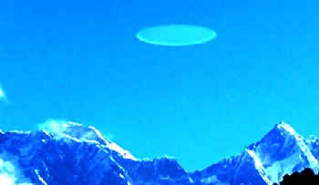 UFO disc captured above Mount Everest in Nepal